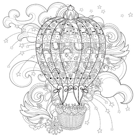 adults: Hand drawn doodle outline air balloon in flight decorated with floral ornaments. Floral ornament. Sketch for tattoo, poster, children or adult coloring pages. Illustration