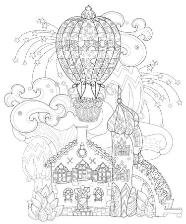 Vector Cute Märchenstadt Doodle.Vector Linie Illustration.Sketch Für ...