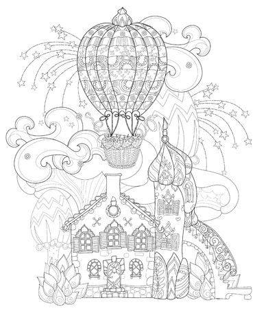 Cute fairy tale town doodle with mushrooms and balloon. Sketch for postcard or print or coloring adult book Illustration