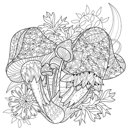 autumn colouring: Hand drawn doodle outline magic mushrooms  decorated with floral ornaments. Floral ornament. Sketch for tattoo, poster, children or adult coloring pages.