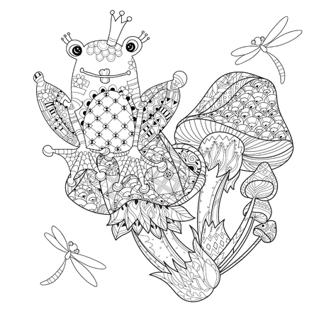 Hand drawn doodle outline magic mushrooms and frog princess decorated with floral ornaments. Sketch for tattoo, poster, children or adult coloring pages. Stock Illustratie