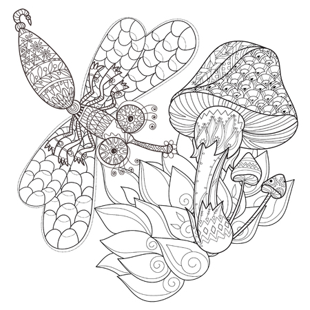 autumn colouring: Hand drawn doodle outline magic mushrooms and dragonfly decorated with floral ornaments. Sketch for tattoo, poster, children or adult coloring pages.