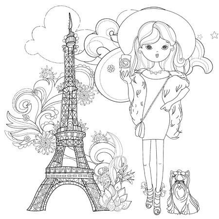 charmed: Vector cute fashion girl with dog in Paris.Vector line illustration.Sketch for postcard or print or coloring adult book.Hand drawn boho free style doodle. Illustration