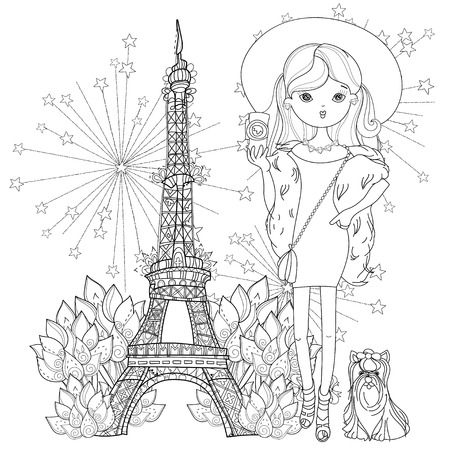 fashionable: Vector cute fashion girl with dog in Paris.Vector line illustration.Sketch for postcard or print or coloring adult book.Hand drawn boho free style doodle. Illustration