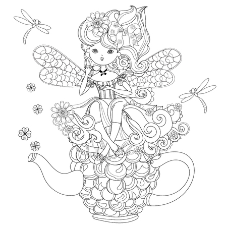 charmed: Vector cute fairy girl in flowers on raspberry teapot..Vector line illustration.Sketch for postcard or print or coloring adult book.Boho zentangle style doodle.