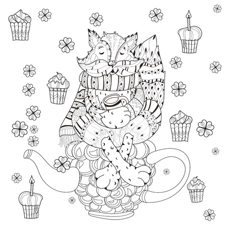 teapot: Vector cute fairy raccoon in flowers on raspberry teapot.Vector line illustration.Sketch for postcard or print or coloring adult book.Boho zentangle style doodle.