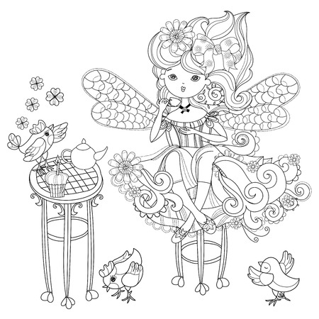 Vector cute fairy girl in flowers.Vector line illustration.Sketch for postcard or print or coloring adult book.Boho zentangle style doodle.