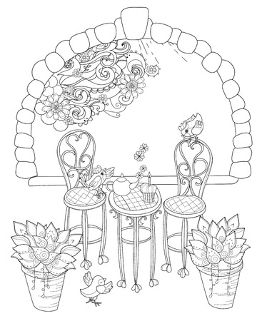 teaparty: Vector cute birthday  tea time.Vector line illustration.Sketch for  coloring adult book.Boho style hand drawn doodle.Terassa, chairs, table, teapot, pie, plants in pots, birds, tea time,stone arch.