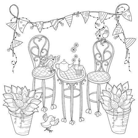 birthday tea: Vector cute birthday  tea time .Vector line illustration.Sketch  coloring adult book.Boho style hand drawn doodle.Terassa, chairs, table, teapot, pie, plants in pots, birds, tea time, light garland