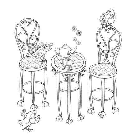teaparty: Vector cute birthday  tea time.Vector line illustration.Sketch for postcard or print or coloring adult book.Boho style hand drawn doodle.Chairs, table, teapot, pie, plants in pots, birds, tea time.