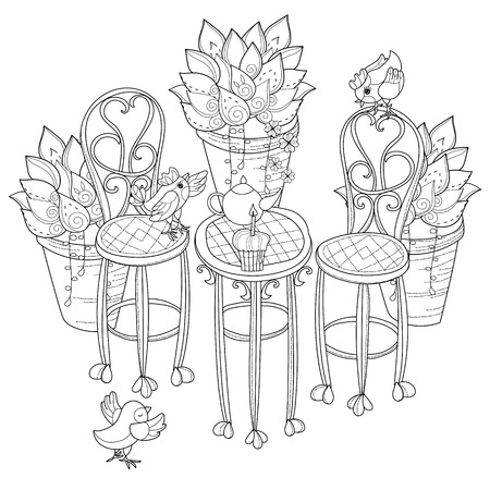 teaparty: Vector cute birthday  tea time.Vector line illustration.Sketch for coloring adult book.Boho style hand drawn doodle.Terassa, chairs, table, teapot, pie, plants in pots, birds, tea time. Illustration