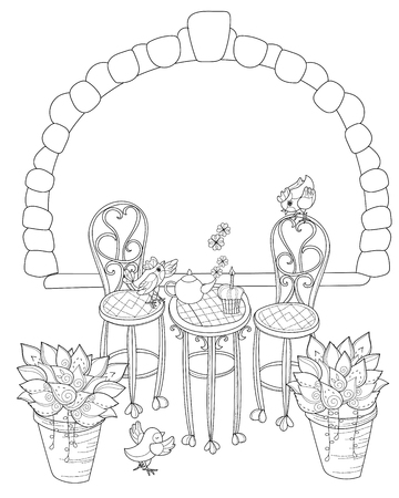 birthday tea: Vector cute birthday  tea time.Vector line illustration.Sketch for  coloring adult book.Boho style hand drawn doodle.Terassa, chairs, table, teapot, pie, plants in pots, birds, tea time,stone arch.