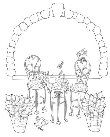 Vector Linda Línea De Té De Cumpleaños Time.Vector Illustration ...