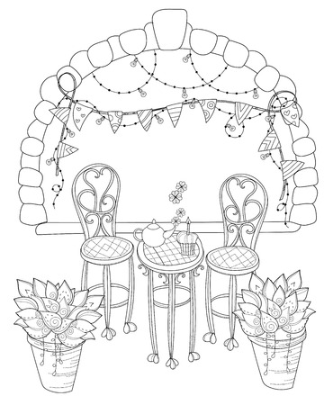 stone arch: Vector cute birthday  tea time.Vector line illustration.Sketch for  coloring adult book.Boho style hand drawn doodle.Terassa, chairs, table, teapot, pie, plants in pots, birds, tea time,stone arch.
