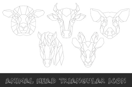 Front view of farm animal head triangular icon set, geometric trendy line design. Vector illustration for tattoo or adult coloring book.
