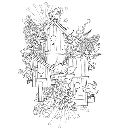 Hand drawn doodle outline spring nesting box decorated with floral ornaments.Vector hand drawn illustration.Floral ornament.Sketch for tattoo, poster, children or adult coloring pages.Boho style. Illustration