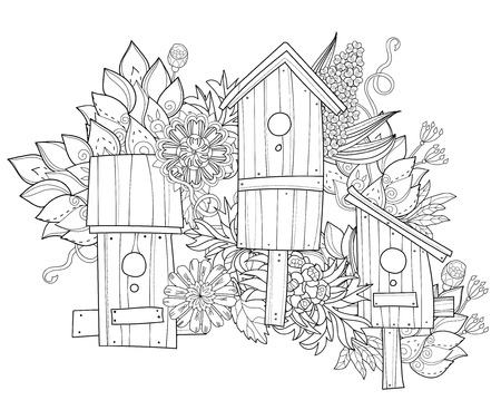 nesting box: Hand drawn doodle outline spring nesting box decorated with floral ornaments.Vector hand drawn illustration.Floral ornament.Sketch for tattoo, poster, children or adult coloring pages.Boho style. Illustration