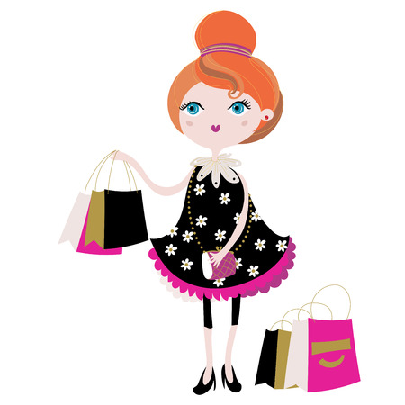 Vector cute fashion girl with shopping bags.Vector line illustration.Sketch for postcard or print .Hand drawn boho free style doodle.