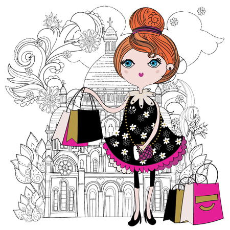 Vector cute fashion girl with shopping bags in Paris.Vector line illustration.Sketch for postcard or print .Hand drawn boho free style doodle.