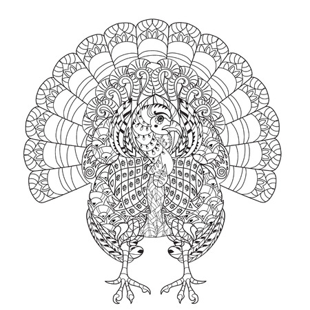 thanksgiving adult: Hand drawn doodle outline turkey decorated with ornaments.Vector zentangle illustration.Floral ornament.Sketch for tattoo or coloring pages.Boho style. Illustration