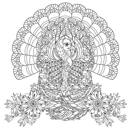 Hand drawn doodle outline turkey decorated with ornaments on nest.Vector zentangle illustration.Floral ornament.Sketch for tattoo or adult coloring pages.Boho style.