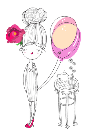charmed: Vector cute fashion girl  with air balloon.Vector line illustration.Sketch for postcard or print or coloring adult book.Hand drawn boho free style doodle. Illustration