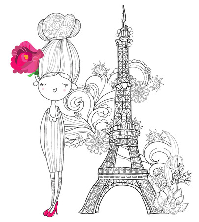 Vector cute fashion girl in Paris.Vector line illustration.Sketch for postcard or print or coloring adult book.Hand drawn boho free style doodle.