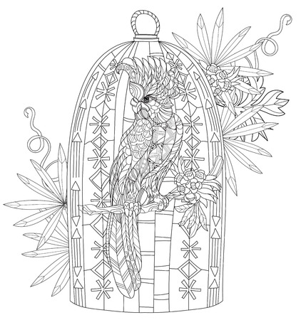 Zentangle stylized parrot.Hand drawn vector illustration. Sketch for tattoo or makhenda or adult coloring book. Bird collection boho style. Stock Illustratie