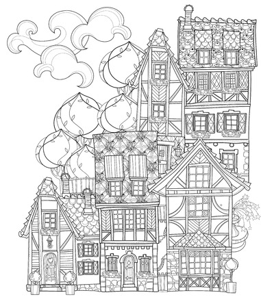 old page: Vector cute fairy tale town doodle.Vector line illustration.Sketch for postcard or print or coloring adult book.