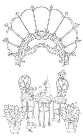 stone arch: Vector cute wine table in Paris.Vector line illustration.Sketch for  coloring adult book.Boho style hand drawn doodle.Terassa, chairs, table, teapot, pie, plants in pots, birds, tea time,stone arch.
