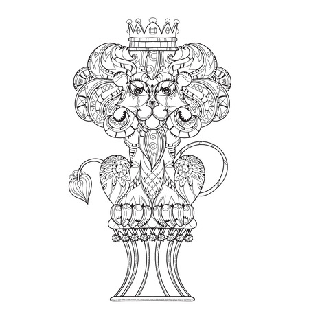 ethnics: Hand drawn doodle outline lion decorated with crown.