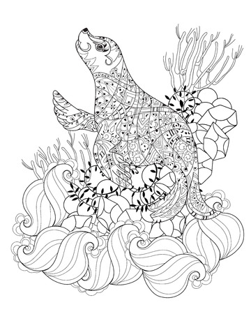 ethnics: Hand drawn doodle outline sea lion decorated with ornaments.