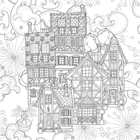 Seamless pattern cute fairy tale town doodle.