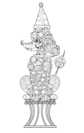 ethnics: Hand drawn doodle outline poodle in circus decorated with ornaments. Illustration