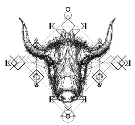 yak: Front view of yak head doodle , geometric trendy line design. Vector illustration for tattoo or print.Abstract geometrical ethnic pattern.