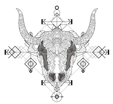 Front view of yak head doodle , geometric trendy line design. Vector illustration for tattoo or print.Abstract geometrical ethnic pattern.