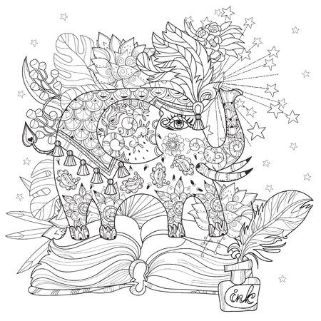 Dibujo Para Colorear Con El Elefante En El Bosque. Libro De ...