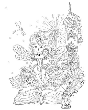 Vector linda princesa de la muchacha de hadas mágico de la historia de la línea de vector zen illustration.Sketch arte para la postal o de impresión o coloración adulta book.Hand dibuja estilo libre.