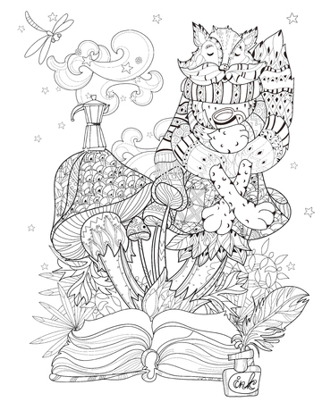 Hand drawn doodle outline mushrooms and raccoon decorated with floral ornaments  from story magic.Vector zen art illustration.Sketch for poster, children or adult coloring pages.Boho style.