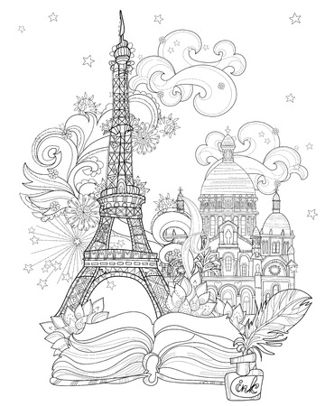 Zen art stylized Eiffel tower Hand Drawn vector illustration from story magic.Sketch for  poster, children or adult coloring pages. France collection.Boho style Illusztráció