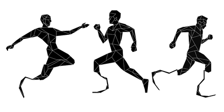 amputation: Side view of disable athlete icon set, geometric trendy line design. Vector illustration for tattoo or coloring book.Sport collection