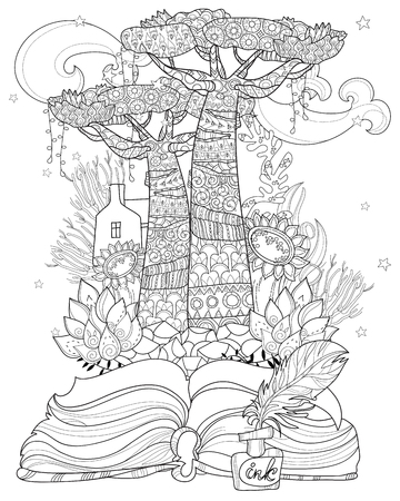 Hand drawn doodle outline tree decorated with floral ornaments from story magic .Vector zen illustration.Floral ornament.Sketch for tattoo, poster or adult coloring pages.Boho style. Иллюстрация