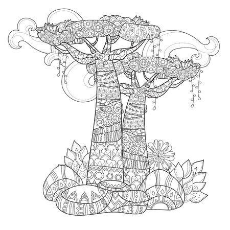 Hand drawn doodle outline tree decorated with floral ornaments.Vector zen illustration.Floral ornament.Sketch for tattoo, poster or adult coloring pages.Boho style. Иллюстрация