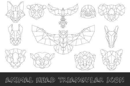 Front view of animal head triangular icon set, geometric trendy line design. Vector illustration for tattoo or coloring book.South America collection