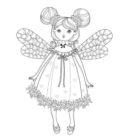 charmed: Vector cute fairy girl in nice dress.Vector line illustration.Sketch for postcard or print or coloring adult book.Boho style.