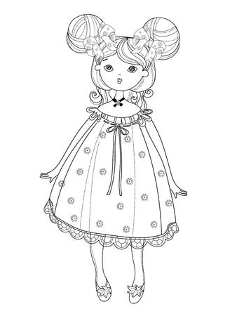 Vector linda chica hada en línea agradable dress.Vector illustration.Sketch para la postal o de impresión o estilo book.Boho coloración adulta. Ilustración de vector