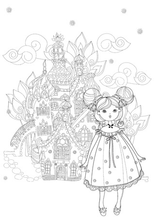 Cute girl in fairy cartoon town doodle.Vector line illustration.Sketch for postcard or print or coloring adult book.Boho zen art style.