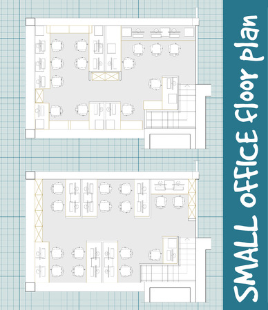 small room: Standard office furniture symbols set used in architecture plans, office planning icon set, graphic design elements on blueprint. Small Office room - top view plans. Vector isolated.