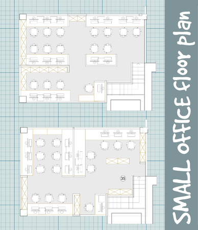small office: Standard office furniture symbols set used in architecture plans, office planning icon set, graphic design elements on blueprint. Small Office room - top view plans. Vector isolated.