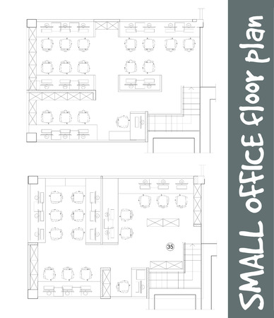 table sizes: Standard furniture symbols used in architecture plans icons set, office planning icon set, graphic design elements. Small Office room - top view plans. Vector isolated.